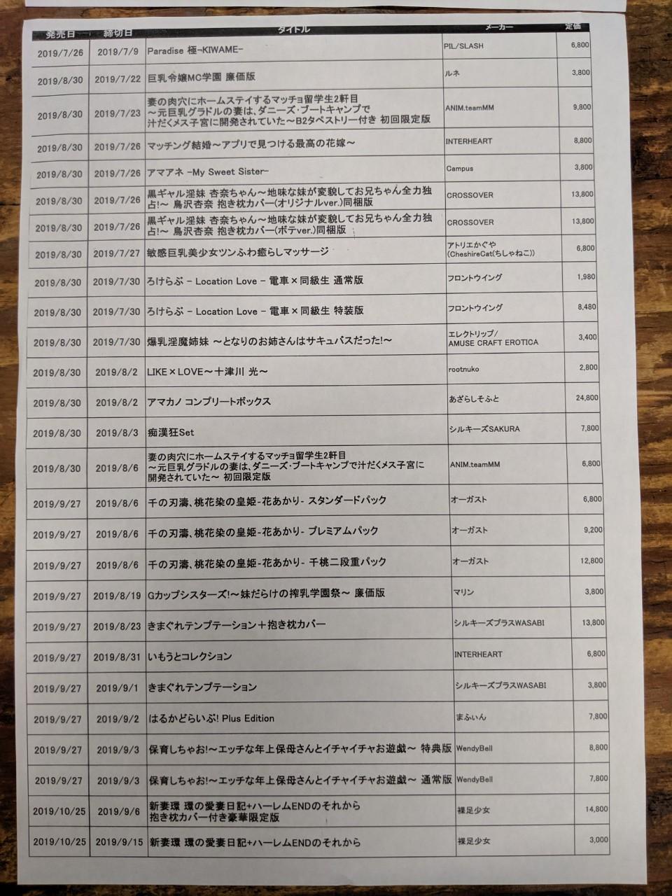 G カップ シスターズ 💕男の穴場コーナー💕本日の新作準新作ソフト在庫状況!&予約表
